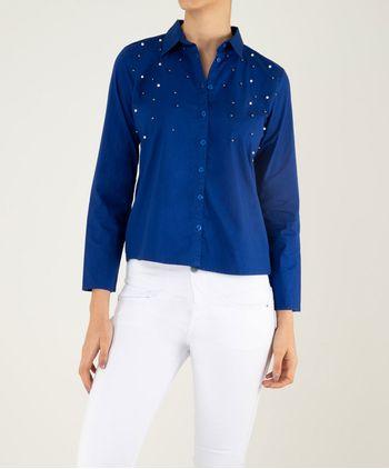 Blusa-manga-larga-cuello-camisero-con-perlas-12002905-Azul_1